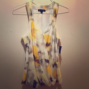 INC floral sleeveless top